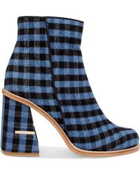 Tibi - Nora Leather-trimmed Gingham Felt Ankle Boots - Lyst