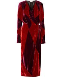 Attico - Victoria Two-tone Velvet Wrap Midi Dress - Lyst