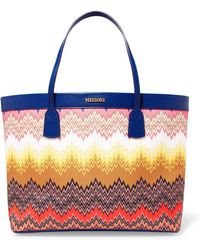 Missoni - Leather-trimmed Twill Tote - Lyst