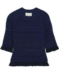 3.1 Phillip Lim - Ruffled Pointelle-knit Jumper - Lyst