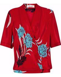 Diane von Furstenberg - Woman Floral-print Silk Wrap Blouse Red Size 2 - Lyst