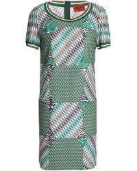 Missoni - Patchwork-effect Crochet-knit Mini Dress - Lyst