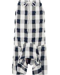 Bassike - Woman Checked Cotton-blend Seersucker Ruffled Skirt Navy - Lyst