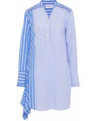 10 Crosby Derek Lam - Asymmetric Striped Cotton-poplin Mini Shirt Dress Light Blue - Lyst