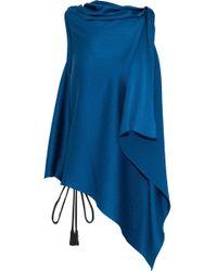 Roland Mouret - Tavistock Draped Hammered Silk-satin Top Cobalt Blue - Lyst