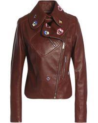 Christopher Kane - Embroidered Leather Biker Jacket - Lyst