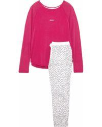 DKNY - Printed Fleece And Stretch Modal-jersey Pyjama Set - Lyst