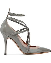 Valentino - Love Latch Eyelet-embellished Smooth And Patent-leather Pumps - Lyst