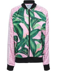 adidas Originals - Woman Embroidered Printed Satin Bomber Jacket Baby Pink - Lyst