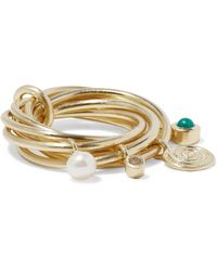 Elizabeth and James - Gold-tone, Crystal, Faux Pearl And Stone Ring - Lyst