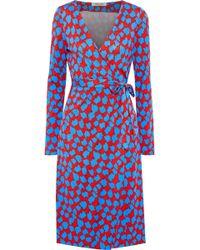 Diane von Furstenberg - Woman Julian Printed Silk-jersey Wrap Dress Red - Lyst