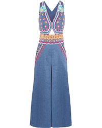 Temperley London | Spellbound Embroidered Linen-blend Chambray Jumpsuit | Lyst