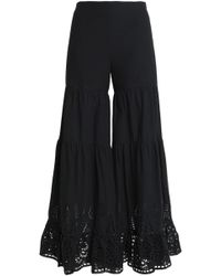 Goen.J - Broderie Anglaise Cotton Wide-leg Trousers - Lyst