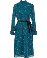 Anna Sui - Guipure Lace-trimmed Printed Silk-chiffon Peplum Dress Teal - Lyst