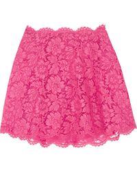 Valentino - Layered Lace And Silk-organza Mini Skirt - Lyst