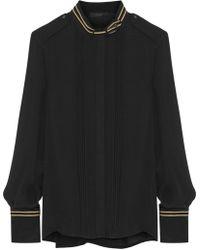 Belstaff - Johanna Lamé-trimmed Pintucked Silk-chiffon Shirt - Lyst