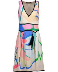 Roberto Cavalli - Woman Printed Stretch-crepe Mini Dress Pink - Lyst