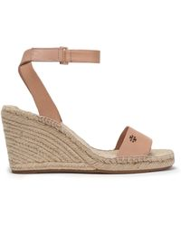 Tory Burch - Woman Leather Espadrille Wedge Sandals Sand Size 11 - Lyst