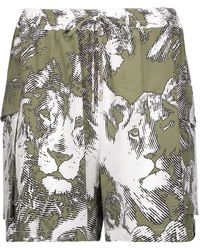 Roberto Cavalli - Printed Washed-silk Shorts - Lyst