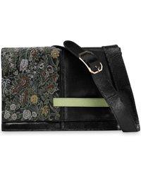 Valentino - Snake-effect Leather And Brocade Shoulder Bag - Lyst