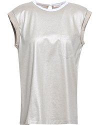 Brunello Cucinelli Bead-embellished Coated Jersey T-shirt Platinum