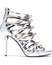 Roger Vivier - Woman Studded Metallic Leather Sandals Silver - Lyst