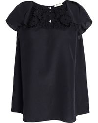 Kate Spade - Baja Bound Embroidered Crepe Blouse - Lyst
