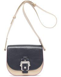 Paula Cademartori - Color-block Leather Shoulder Bag Midnight Blue - Lyst