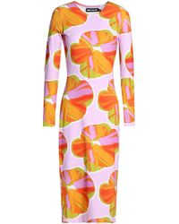 House of Holland - Minerva Floral Print Bodycon Midi Dress - Lyst