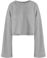T By Alexander Wang - Tie-back Mélange Cotton-blend Terry Sweatshirt - Lyst