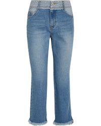 Steve J & Yoni P - Frayed Faded Mid-rise Slim-leg Jeans - Lyst