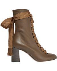 a51ab0de37e7 Chloé - Chloé Woman Harper Lace-up Leather Ankle Boots Light Brown - Lyst