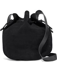 Halston - Leather-trimmed Suede Bucket Bag - Lyst
