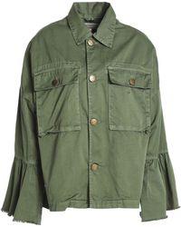 Current/Elliott - Frayed Cotton-twill Jacket Army Green - Lyst