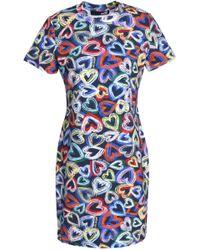 Love Moschino - Printed Stretch Cotton-jersey Mini Dress - Lyst