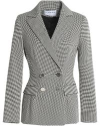 OSMAN - Double-breasted Houndstooth Cotton-blend Blazer - Lyst