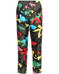 Valentino - Cropped Printed Silk-twill Straight-leg Pants - Lyst
