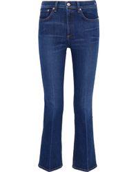Rag & Bone - Cropped Faded Mid-rise Bootcut Jeans Mid Denim - Lyst