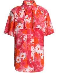 Michael Kors - Pussy-bow Floral-print Silk Crepe De Chine Shirt - Lyst