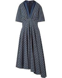 Adam Lippes - Woman Asymmetric Gathered Checked Cotton-poplin Midi Dress Indigo - Lyst