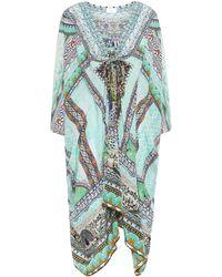 Camilla The King And I Embellished Silk Crepe De Chine Kaftan Mint - Multicolour