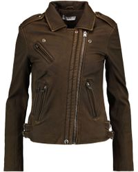 IRO - Leather Biker Jacket Army Green - Lyst