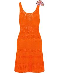 Emilio Pucci - Bow-embellished Crocheted Cotton Dress - Lyst