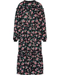 Mother Of Pearl - Claudine Ruffle-trimmed Floral-print Silk-crepe Midi Dress Midnight Blue - Lyst