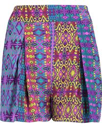 Matthew Williamson - Pleated Printed Silk Shorts - Lyst