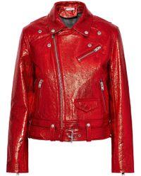 IRO - Metallic Cracked-leather Biker Jacket - Lyst