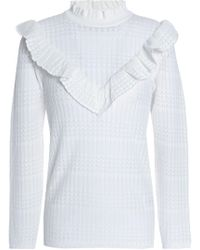 Sandro - Ruffle-trimmed Pointelle-knit Jumper Off-white - Lyst