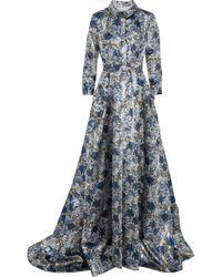 Carolina Herrera - Woman Belted Brocade Gown Silver - Lyst