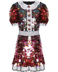 Dolce & Gabbana - Lace-trimmed Sequined Crepe Mini Dress - Lyst