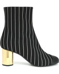 Marco De Vincenzo - Patent Leather-paneled Striped Canvas Ankle Boots - Lyst